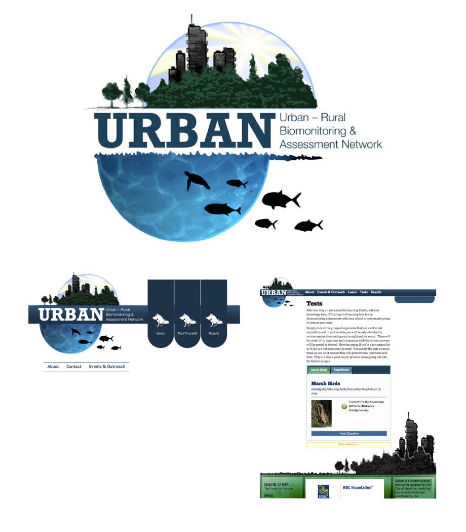 Poster design portfolio - Logo For The Urban Rural Biomonitoring Assessment Network Features Water Silhouettes Logo Design